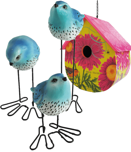 About Us birds and bird house gift from Plymouth Wreath Factory retail store