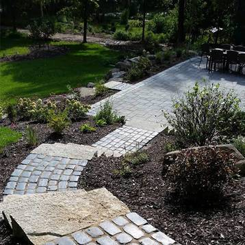 sidewalk paver and paver patio with landscaping